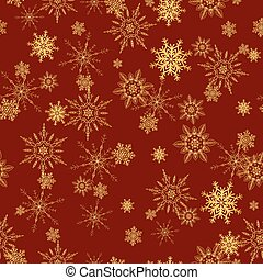 Seamless pattern with gold snowflakes