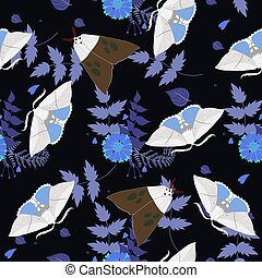 Seamless pattern with moths. For fabric, wallpaper, wrapping paper.