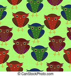 Seamless pattern with owls. For wrapping paper and fabric.