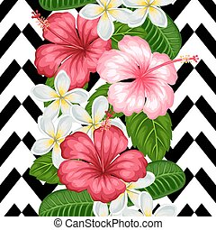 Seamless pattern with tropical flowers hibiscus and plumeria. Background made without clipping mask. Easy to use for backdrop, textile, wrapping paper