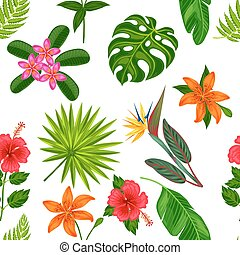 Seamless pattern with tropical plants, leaves and flowers. Background made without clipping mask. Easy to use for backdrop, textile, wrapping paper
