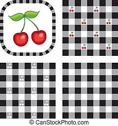 Seamless Patterns, Cherry, Gingham