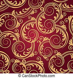 Seamless red & gold swirls pattern