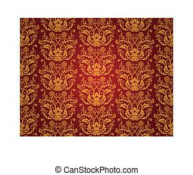 Seamless red vintage wallpaper