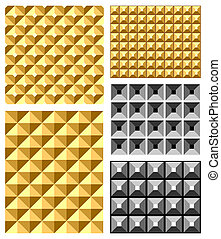 Seamless relief patterns set.