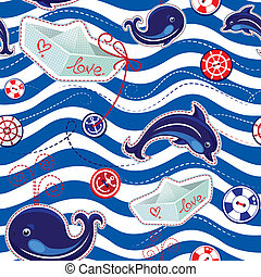 Seamless sea pattern with dolphins
