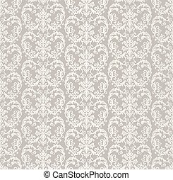 Seamless silver victorian style floral wallpaper