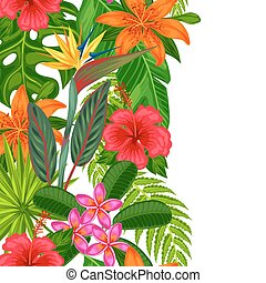 Seamless vertical border with tropical plants, leaves and flowers. Background made without clipping mask. Easy to use for backdrop, textile, wrapping paper