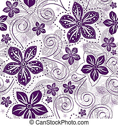 Seamless floral white pattern with violet vintage flowers curls (vector)
