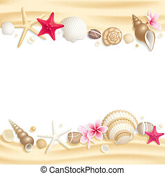 Background with seashells and starfishes making a frame for any text