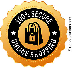 Secure shopping icon isolated on white background