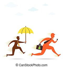 insurance agent or bank person follow money men to secure your money concept