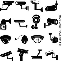security camera vector icons set in black.