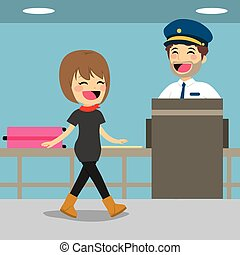 Girl on security check control while policeman is inspecting baggage with x-ray machine