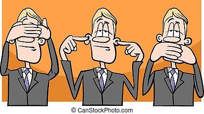 Cartoon Humor Concept Illustration of See no Evil Hear no Evil Speak no Evil Saying or Proverb