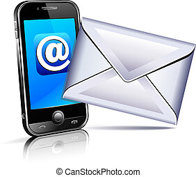 Concept showing email communication by mobile phone