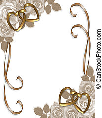 Image and illustration composition sepia roses, gold hearts design element for Valentine or wedding invitation background, border or frame with copy space.