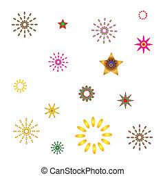 set abstract spherical luminous gold stars