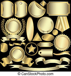 Set golden and silvery labels on a black background (vector)