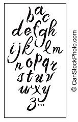 Set hand-drawn ink calligraphy alphabet on white