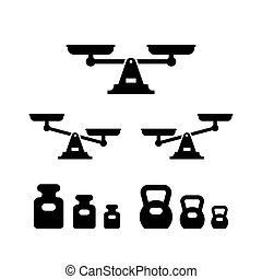 Set icons of scales and weights isolated on white. Vector illustration