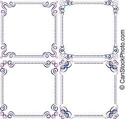 set Multilayer vector violet blue elegant frame