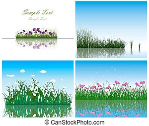 4 Grass on Water backgrounds