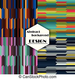 Set of abstract geometric seamless color background, vector illustration.
