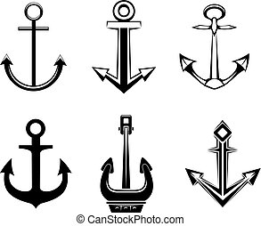 Set of anchorl symbols for design isolated on white background