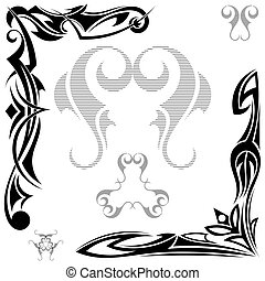 Set of black elements Tribal tattoo