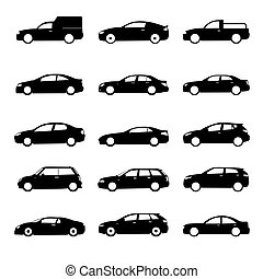 Set of black shapes and Icons of Cars. Vector Illustration.