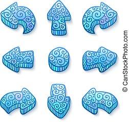 Set of blue vector doodle ornate arrows