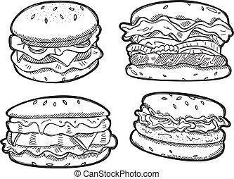 set of burger doodle