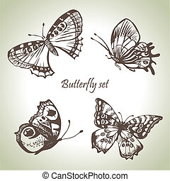 Set of butterfly. Hand drawn illustrations