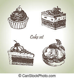 Set of cakes. Hand drawn illustrations