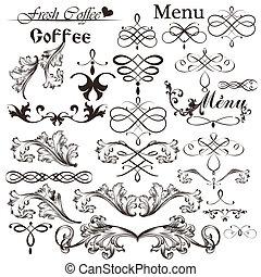 Set of calligraphic vector decorati