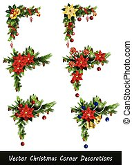 Set of Christmas corner decorations