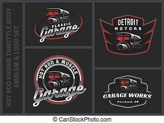 Set of classic car logo, emblems and badges. Hot Rod throttle body vector illustration.
