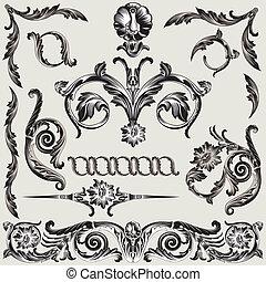 Set Of Classic Floral Decoration Elements editable vector illustration