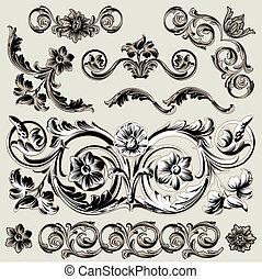 Set Of Classic Floral Decoration Elements