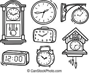 set of clock doodle