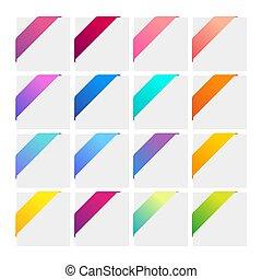 Set of colorful corner ribbons.