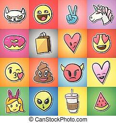 Set of colorful emoticons, emoji, stickers backgound, vector.