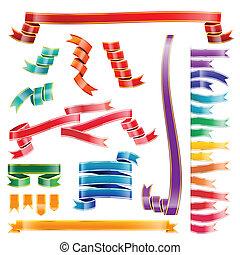 Set of colorful ribbon tag