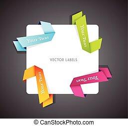 Set of colorful vector corner ribbons.
