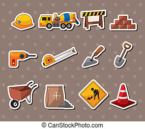 Set of construction object stickers