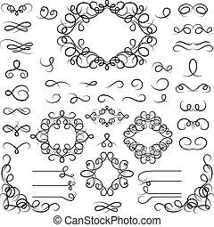Set of curled calligraphic design elements.