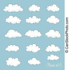 set of cute cartoon clouds. vector