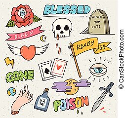 Set of cute patches design