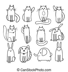 Set of cute vector cats, dogs and elephant drawn in doodle style. Illustrations for a greeting card, poster, print on children's clothing